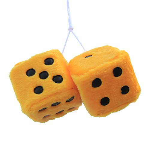 (FineInno Hanging Fuzzy Dice Plush Car Pendant with Sucker Ornament Decoration Home Decoration)
