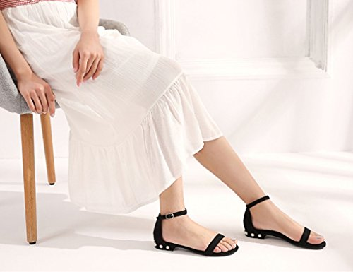 Open Sandals Black Summer Female ZCJB 34 Black Shoes Black Size Buckle Word Career Color Coarse Heel Wild High toed Heels aa7qw