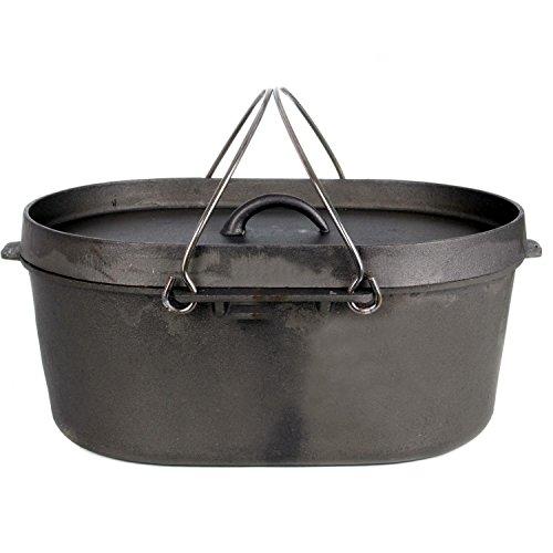 Cajun Classic 8-Quart Oval Unseasoned Cast Iron Casserole Pot With Lid - GL10484