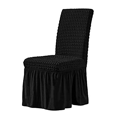 CHUN YI Stretchy Universal Easy Fitted Dining Chair Cover Slipcovers with Skirt, Removable Washable Anti-Dirty Furniture Protector for Kids Pets Home Ceremony Banquet Wedding Party