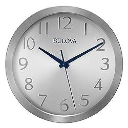 Bulova C4844 Winston Wall Clock, Silver