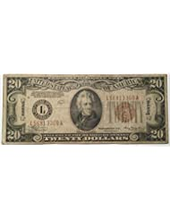 Rare $20 Twenty Hawaii 1934 A Brown Seal Federal Reserve Bank Washington DC USA Scarcer Early Type Note