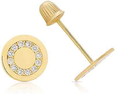 aac03d6ce Balluccitoosi 14k Gold Tiny Stud Earrings for Women & Girls - Real  Hypoallergenic, Small &