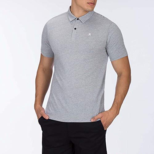 (Hurley Men's Dri-FIT Coronado Polo, Grey Heather,)