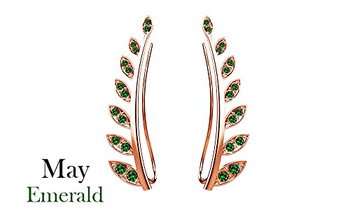 Simulated Green Emerald Ear Crawler Cuff Earrings 14k Rose Gold Over Sterling Silver Climber Studs Olive Leaf - Olive Rose Collection