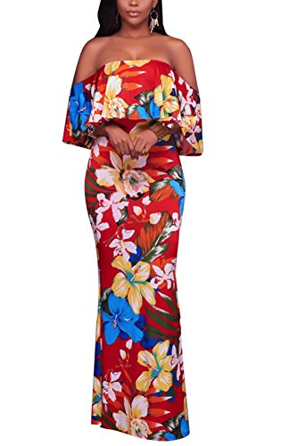 Suimiki Vintage Ruffle Plain Floral Printed Off Shoulder Bodycon Long Party Maxi Dress Red Style-2 -