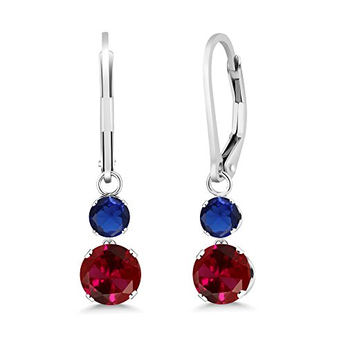 - Gem Stone King 2.50 Ct Red Created Ruby Blue Simulated Sapphire 925 Sterling Silver Earrings