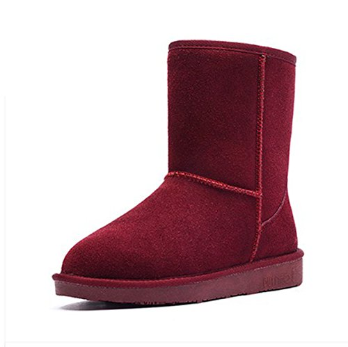 Snow Boots Women New Leather Warm Snow Shoes In The Tube Flat Female Boots WineRed
