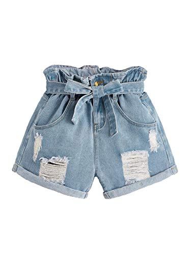 Milumia Women's Casual High Waisted Hem Pocket Casual Ripped Denim Shorts Pockets Blue-11 -