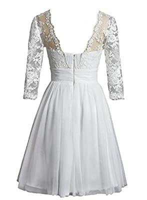 YSK Women's Short Wedding Dress V-neck Mini Prom Evening Gowns