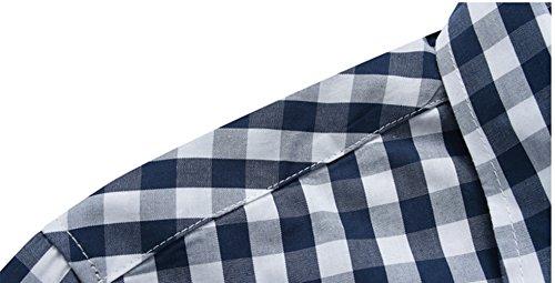 Icegrey Herren Hemd Beiläufige Plaid Karo Langarm Freizeit Slim Fit Kleid Hemd mit Kentkragen Blau Weiss 52 3XL