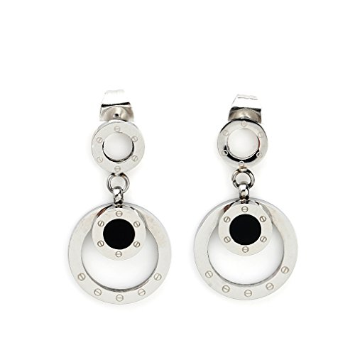 Stylish Silver (White Gold) Tone Circular Post Earrings with Contemporary Screw Design and Faux Onyx Inlay (160020) - Onyx Inlay