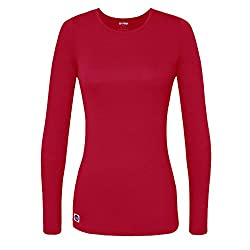 Sivvan Women's Comfort Long Sleeve T-shirt Underscrub Tee - S8500 - Red - M