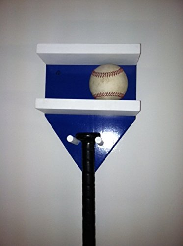 Baseball Bat Rack and Ball Holder Display Meant to Hold 1 Full Size Bat and 4 Baseballs Blue White by MWC