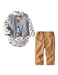 Happy Cherry Baby Boys Gentleman Formal Bowtie Outfits Long Sleeve Vest Set