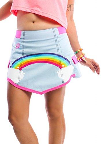 - Kikg Girl Over The Rainbow Cargo Skirt by Kikwear X-Small Light Blue