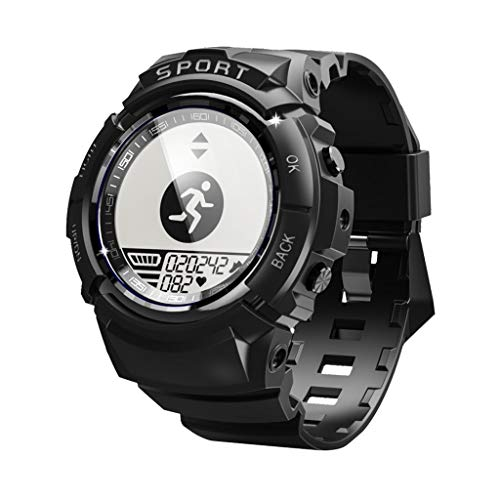 wuliLINL Men Sports Smart Watch 50M deep sea Swimming IP68 Waterproof with 4 dials 6 Sport Modes, Compass, Heart Rate, Ultra Low Power, Stride, Steps, Calories and Mileage (Black)