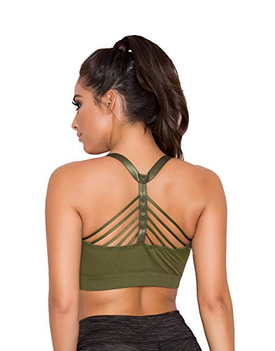 Yandy Women Athletic Soft Removable Padding Multi Strap Sports Bra Green Small