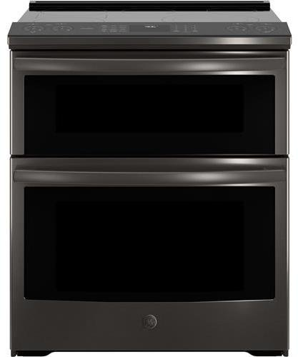 Electric Convection Slide In Range - GE Profile PS960BLTS 30 Inch Slide-in Electric Range with Smoothtop Cooktop, 6.6 cu. ft. Primary Oven Capacity in Black Stainless Steel