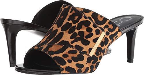 Calvin Klein Women's Carine Heeled Sandal, Leopard Hair Calf, 9 M US