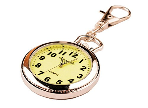 New Big Round Luminous easy to read time Key Ring Pocket watch Grandparents gift