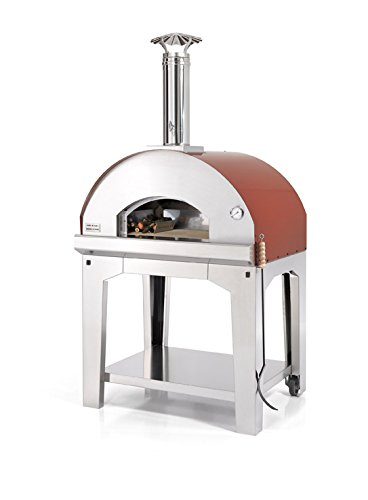 FONTANA FORNI Forno Toscano Mangiafuoco Portable Wood Fired Oven, Medium, Stainless Steel with Copper Roof (Antique Red)
