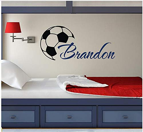 Ffdidy Custome Boys Name Wall Decals with Soccer Art Wall Stickers Personalized Home Kids Room Decor Vinyl Wallpaper DIY Poster 27X57Cm]()