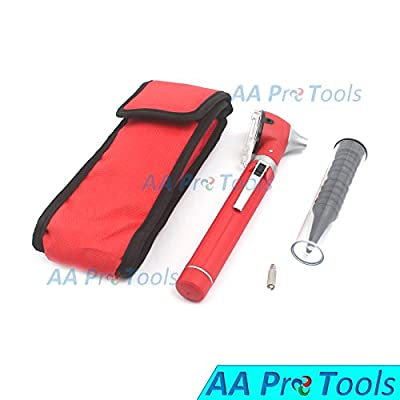 Aaprotools New Professional Mini Fiber Optic Otoscope Red (pocket Size) Ent Diagnostic Set + 1 Free Extra Replacement Bulb A+ Quality