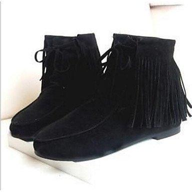 GLL&xuezi Femme Bottes Bottes à la Mode Coton Polyuréthane Printemps Hiver Décontracté Noir Jaune Marron Plat brown suUhHisn