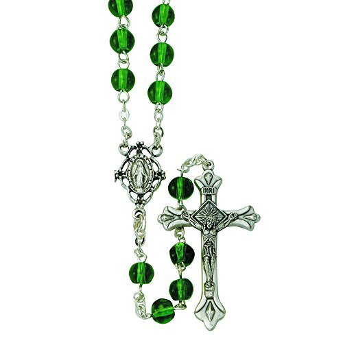 Green Toned Glass Prayer Bead Rosary Necklace with Miraculous Center, 17 Inch ()