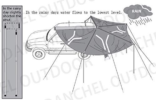 DANCHEL OUTDOOR 270 Degree Sector Shaped car Side foxwing Awning (Khaki, Dia. 8.2ft Left) by DANCHEL OUTDOOR (Image #8)
