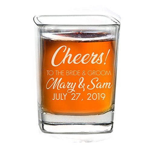 (Personalized Shot Glass Wedding Favors - Custom Engraved Take a Shot We Tied the Knot Shot Glasses, Gift for Guests, Couples, Engagement)