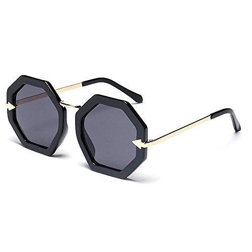 Lente Viaje de UV Polígono Playa Libre Conducción Unisex Negro Color Lente de Pequeño al Negro Protección Mujeres Hombres Color Aire Gafas Sol de Forma para UY1d85HY