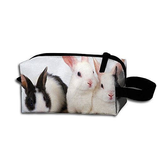 Makeup Cosmetic Bag Cute Rabbits Bunny Pattern Zip Travel Portable Storage Pouch For Mens -