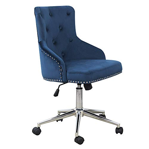 DMF Furniture Home Office Chair with High Back, Modern Design Velvet Desk Task Chair with Arms in Study Bedroom, Navy Blue