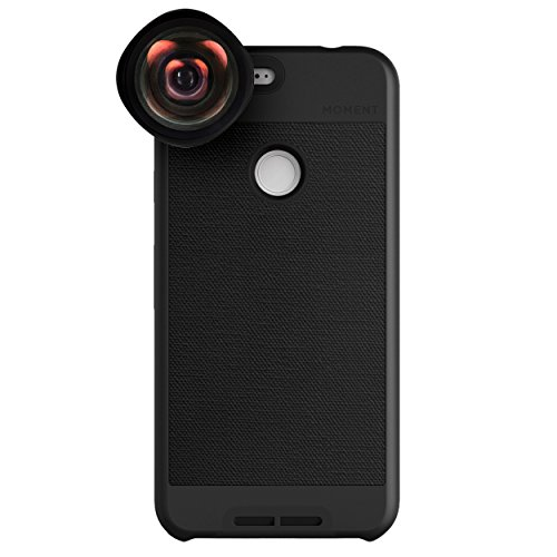 Google Pixel XL Case with Wide Lens Kit || Moment Black Canvas Photo Case plus Wide Lens || Best google wide attachment lens with thin protective case. by Moment