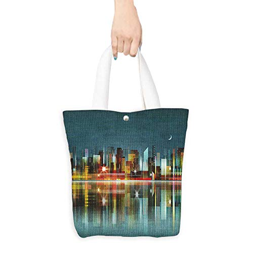 Ecofriendly Shopping Bag Modern Illustration of a City Silhouette Skyline at Night Buildings Skyscrapers Urban View Multicolor (W15.75 x L17.71 -