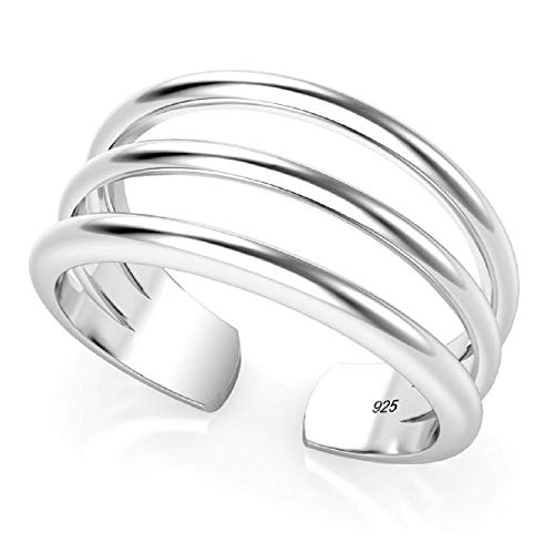 Elinajewels 925 Sterling Silver 14k White Gold Over 3 Row Adjustable Toe Band Ring/Mid Ring
