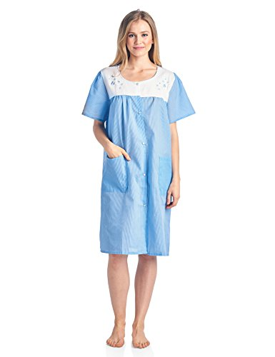 Casual Nights Women's Short Sleeve Snap-Front Lounger Duster House Dress - Blue - Medium - Lady Housecoat