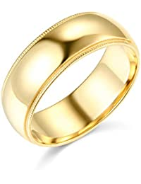 Mens 14k Yellow -OR- White Gold Solid 7mm COMFORT FIT Milgrain Traditional Wedding Band Ring