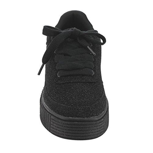 FL73 Black Glitter Height Casual Womens FOREVER Creeper Increasing Sneaker 1x8dzO