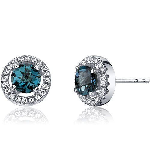14K White Gold London Blue Topaz Halo Earrings Round Checkerboard Cut 1.00 Carats