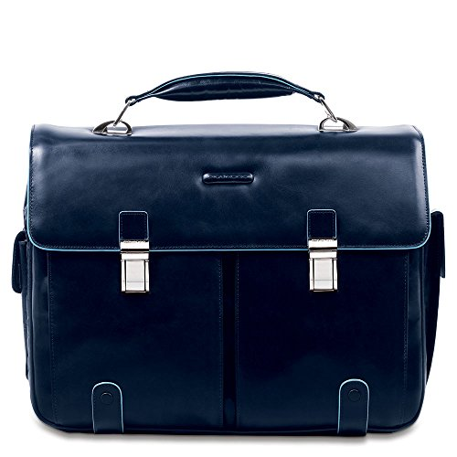 Piquadro Leather Case with 2 Front External Pockets, Dark Blue, One Size by Piquadro