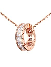 """Circle Pendant Necklace with White Zirconia Austrian Crystals 18 ct Rose Gold Plated for Women 18"""""""