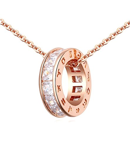 White Crystal Circle Necklace - Sale Circle Pendant Necklace with White Zirconia Crystals 18 ct Rose Gold Plated for Women 18