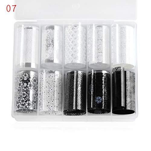 10pcs/set Women Beauty Nail Decoration Black White Lace Foil Mix Style Holographic Transfer Decals Nail Sticker(07,07)]()