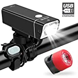 iKirkLiten Urban 600 Lumens Bike Lights Front and Back, USB Rechargeable Bike Headlight with Tail Light Bike Light Set, Aluminum Alloy Waterproof Bike Headlight W Wired Remote Button, 5 Lighting Modes