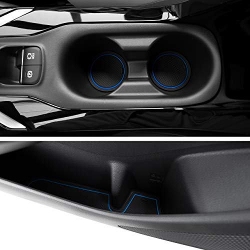 Custom Fit Cup, Door, Console Liner Accessories Kit for Toyota Corolla Hatchback 2019 2020 2021 11PC Kit (Hatchback, Blue Trim)