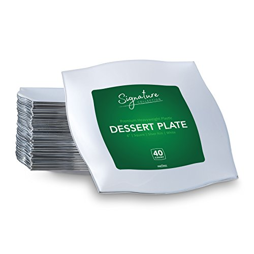 SIGNATURE PLASTIC PARTY DISPOSABLE PLATES | 6 Inch Square Wedding Dessert Plates | White with Silver Rim, 40 Ct | Elegant & Fancy Heavy Duty Hard Party Supplies Plates for Holidays & Occasions Silver Rim Picture Frame