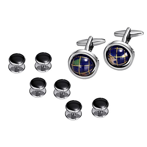 Aienid Stainless Steel Cuff-links For Men Globe Tellurion Blue Wedding Shirt - Stud Cufflinks New
